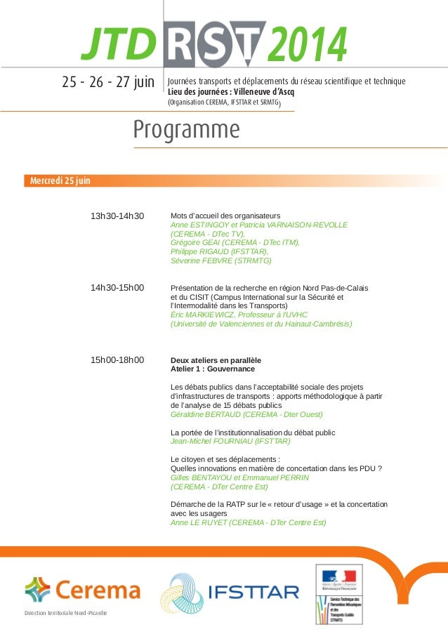 Programme Direction territoriale Nord-Pic