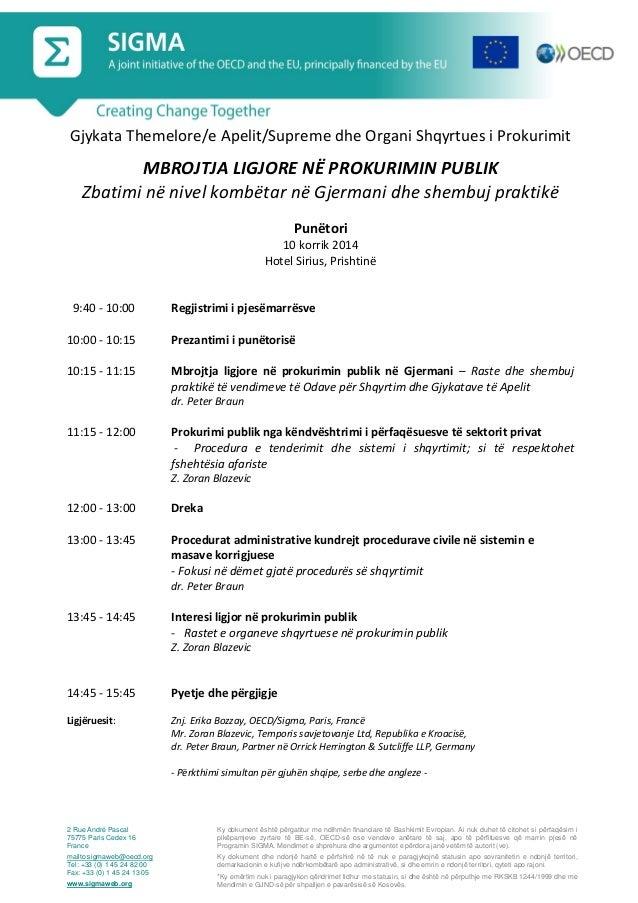 Programme, Legal Protection in Public Procurement, Pristina, 10 July 2014_alb