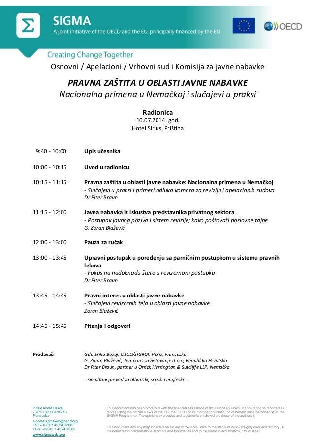 Programme, Legal Protection in Public Procurement, Pristina, 10 July 2014_srb
