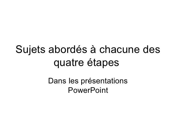 Sujets abordés à chacune des        quatre étapes      Dans les présentations           PowerPoint