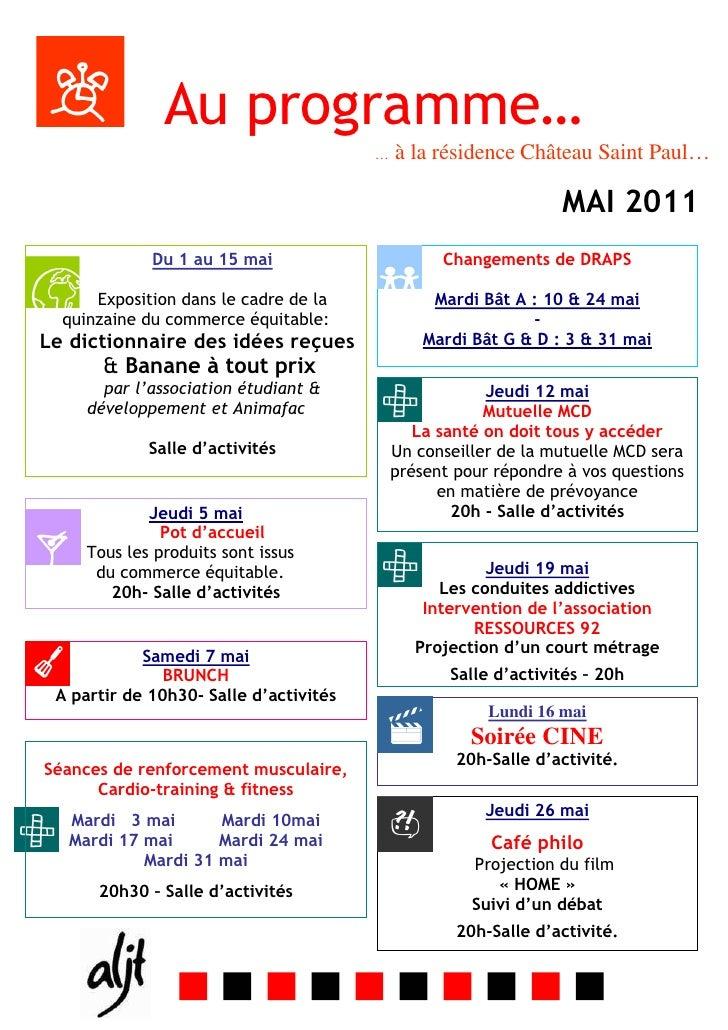 Programme mensuel de MAI