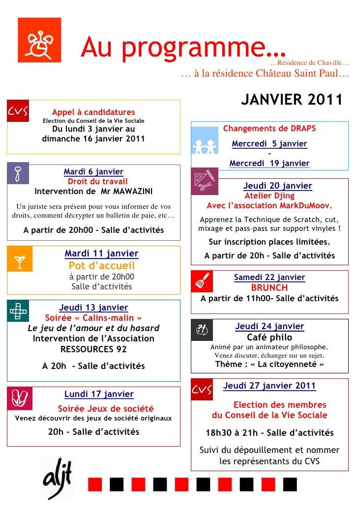 Programme mensuel janvier 2011