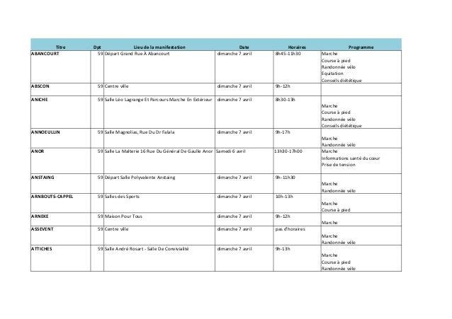 Parcours du coeur 2013 - le programme