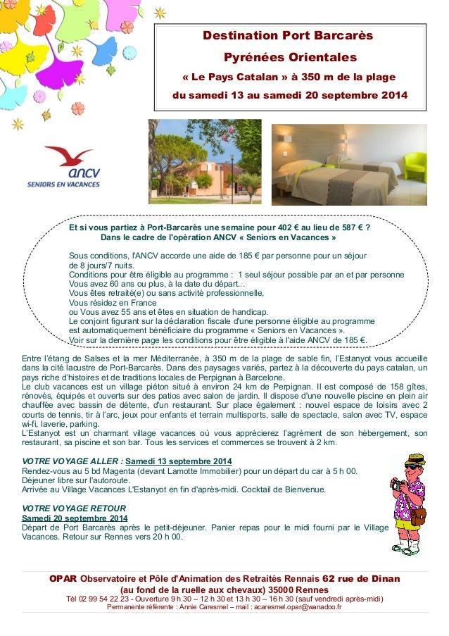 Et si vous partiez à Port-Barcarès une semaine pour 402 € au lieu de 587 € ? Dans le cadre de l'opération ANCV « Seniors e...