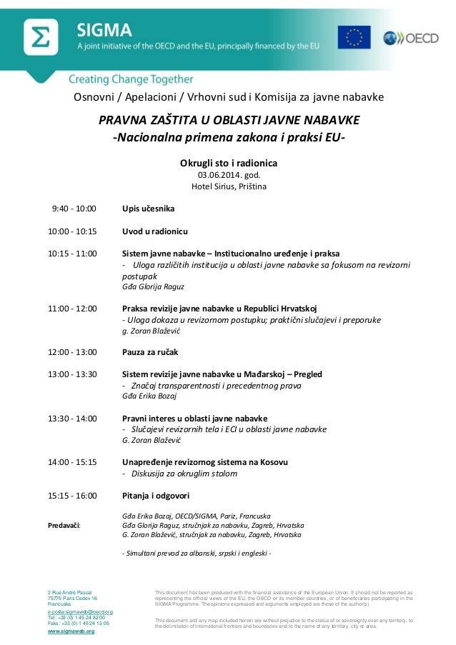 Programme, PRB & Courts, Public Procurement Workshop, Pristina, 3 June 2014_srb