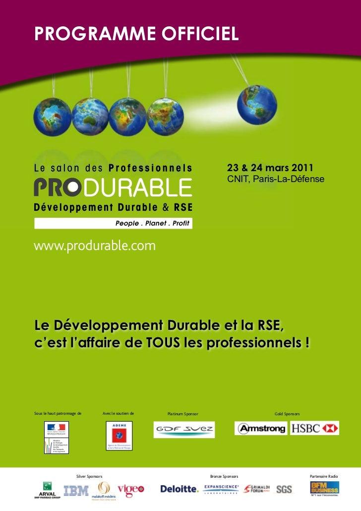 Programme PRODURABLE 2011