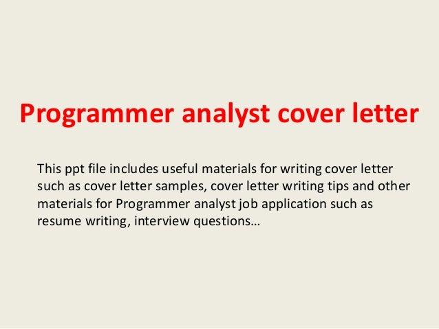 Programmer analyst job cover letter