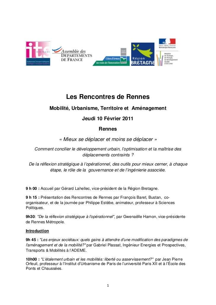 Les Rencontres de Rennes               Mobilité, Urbanisme, Territoire et Aménagement                                 Jeud...