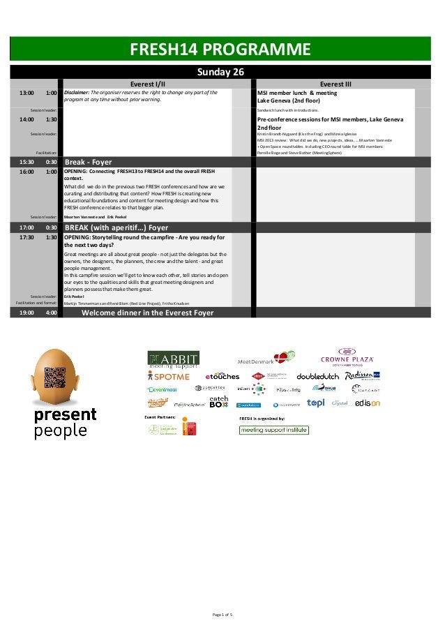 The FRESH Conference programme - Copenhagen, 26-28 January 2014 - #FRESH14