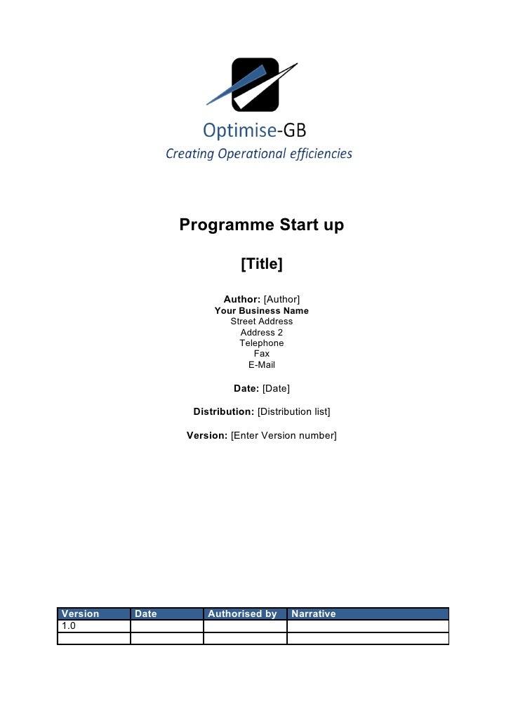 Programme Start up                               [Title]                           Author: [Author]                       ...