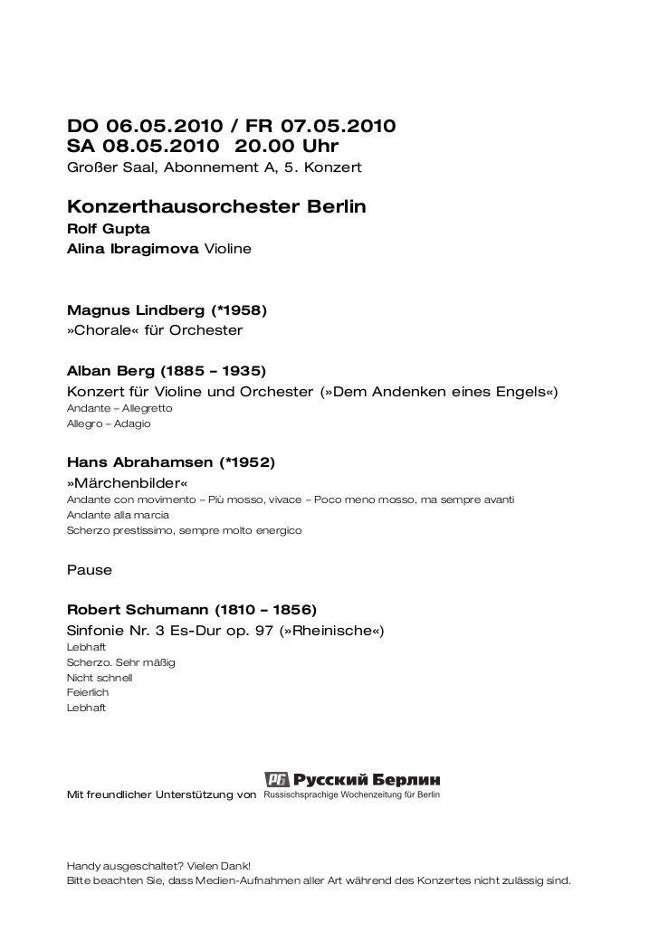 DO 06.05.2010 / FR 07.05.2010SA 08.05.2010 20.00 UhrGroßer Saal, Abonnement A, 5. KonzertKonzerthausorchester BerlinRolf G...