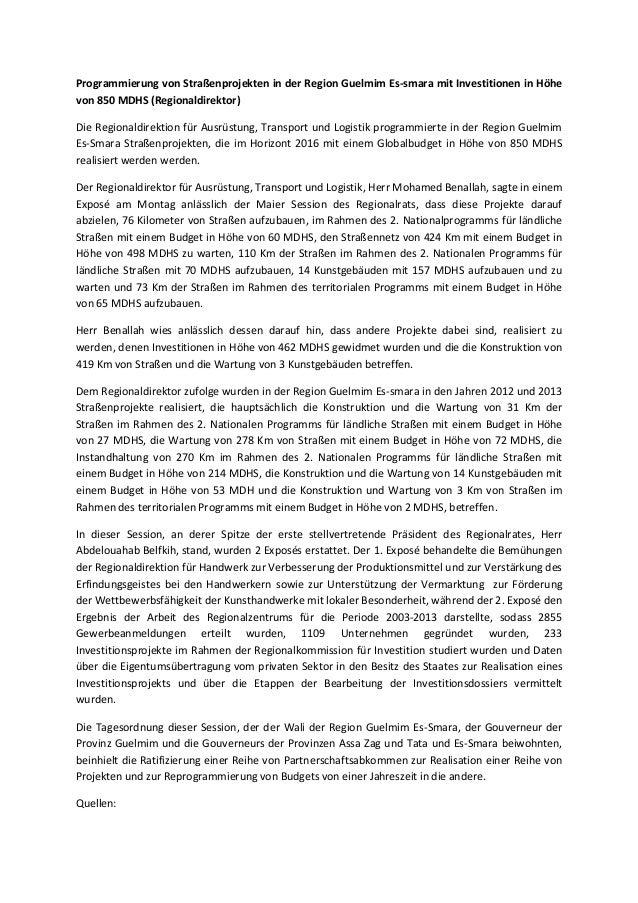Programmierung von Straßenprojekten in der Region Guelmim Es-smara mit Investitionen in Höhe von 850 MDHS (Regionaldirekto...