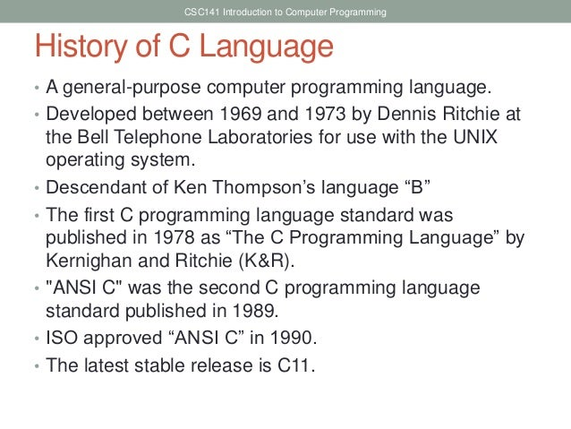 Introduction to programming languages Compiler for c language