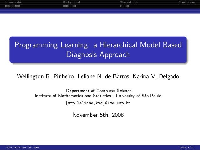 Programming learning: a hierarchical model based diagnosis approach