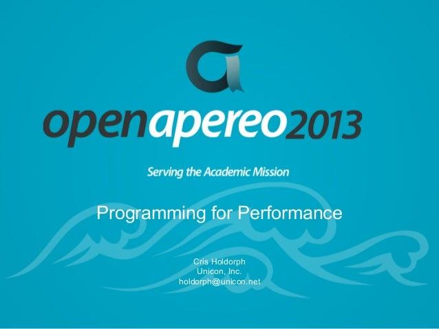 Programming for Performance