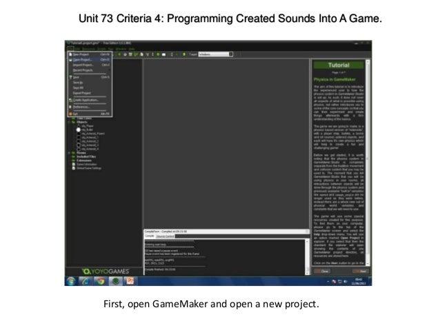 Unit 73- Criteria 4: Programming Sounds Into a Video Game.
