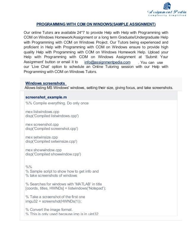 Programming with com on windows homework help