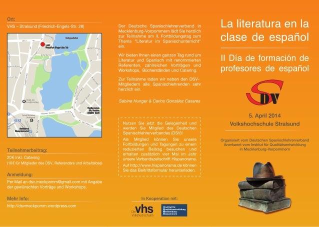 Literatura en la clase de español - Programa de formación - Stralsund, 5 de abril de 2014