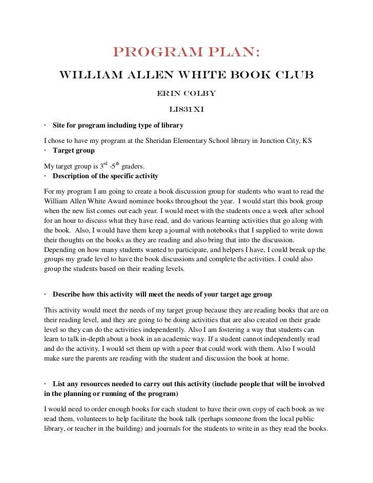 Program Plan:     William Allen White book club                                        Erin Colby                         ...