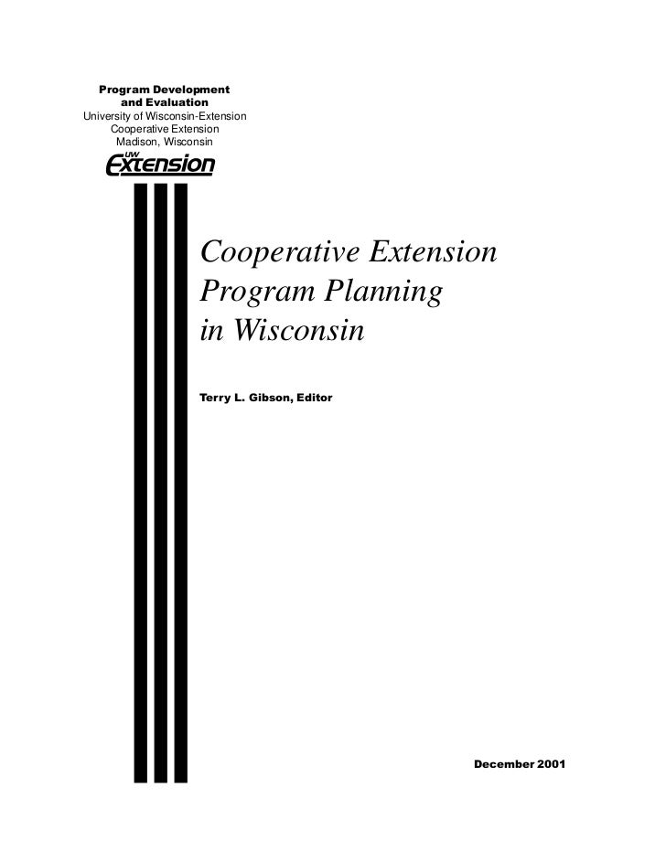 Program Development       and EvaluationUniversity of Wisconsin-Extension     Cooperative Extension      Madison, Wisconsi...