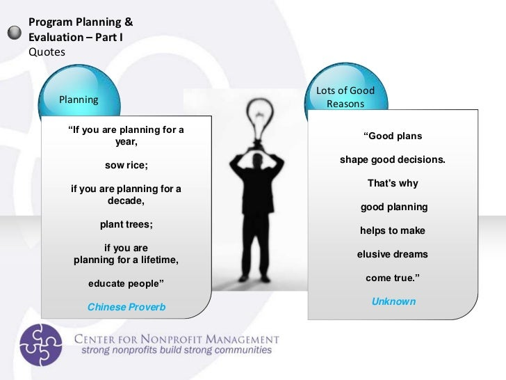 program planning and evaluation 2 Program planning is an integral component of program evaluation the purpose of phase 1 is to develop a succinct health promotion program map in the form of a logic.