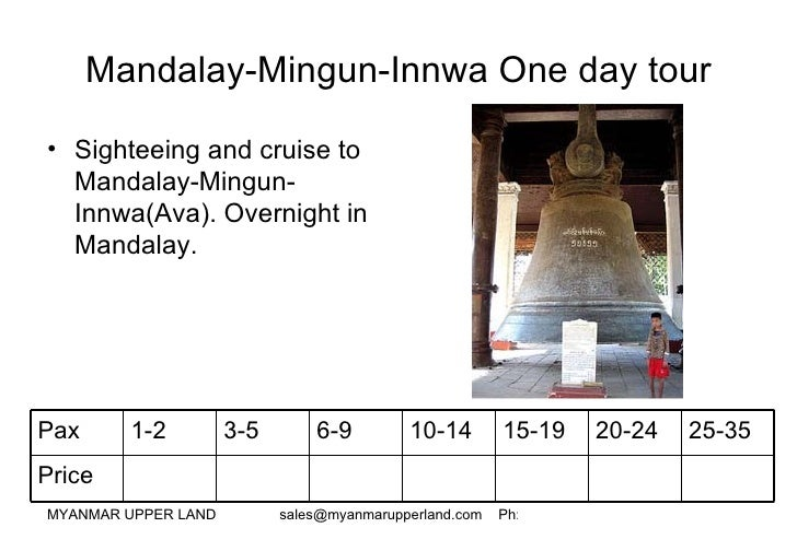 Mandalay-Mingun-Innwa One day tour <ul><li>Sighteeing and cruise to Mandalay-Mingun-Innwa(Ava). Overnight in Mandalay. </l...