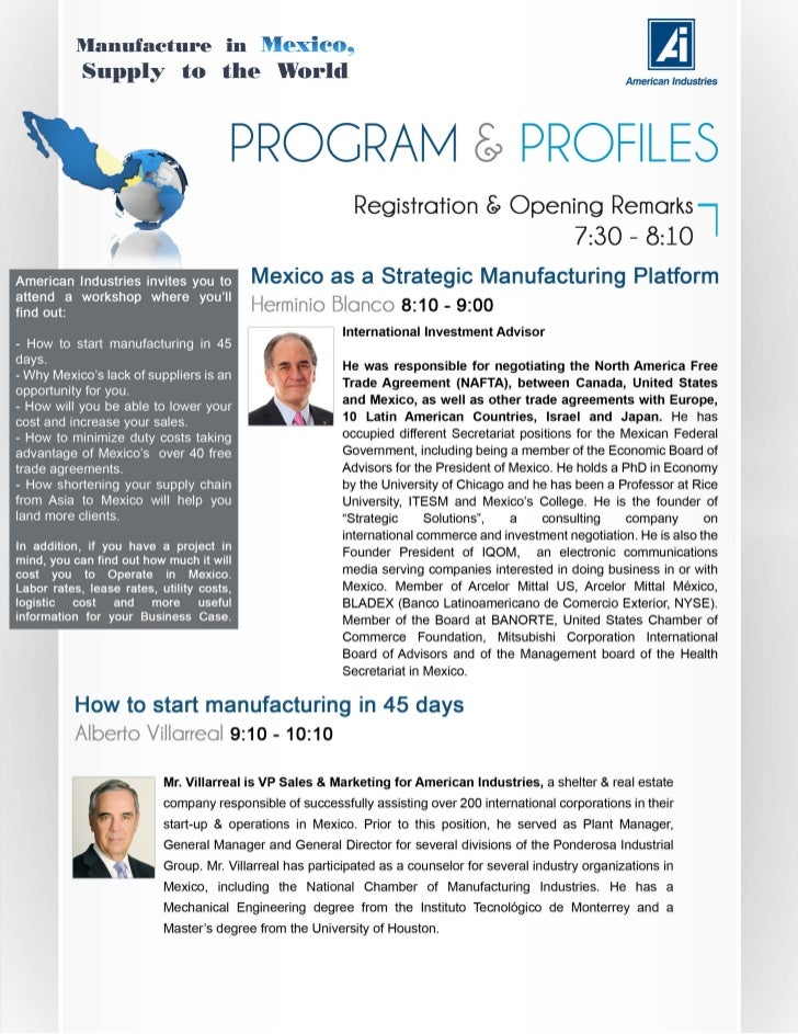 Manufacuting in Mexico, Supply to the World Workshop 2012
