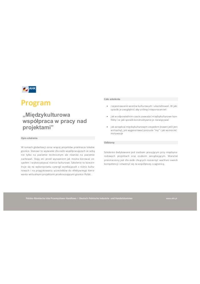 """Program """"Międzykulturowa  współpraca w pracy nad  projektami"""" Opis szkolenia W ramach globalizacji coraz więcej ..."""