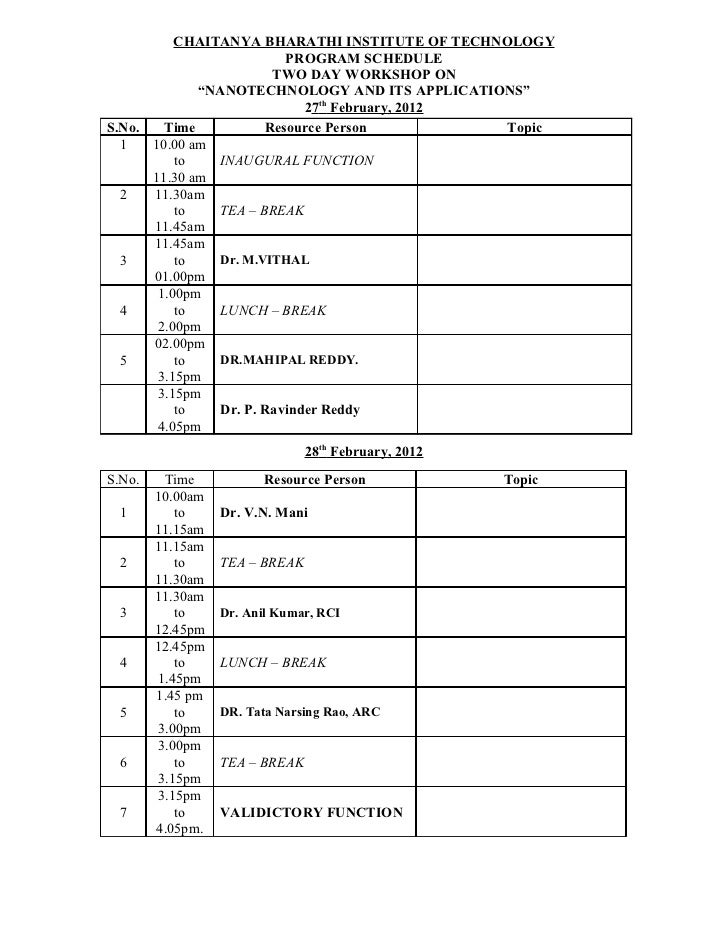 Program schedule of Nanotechnology workshop