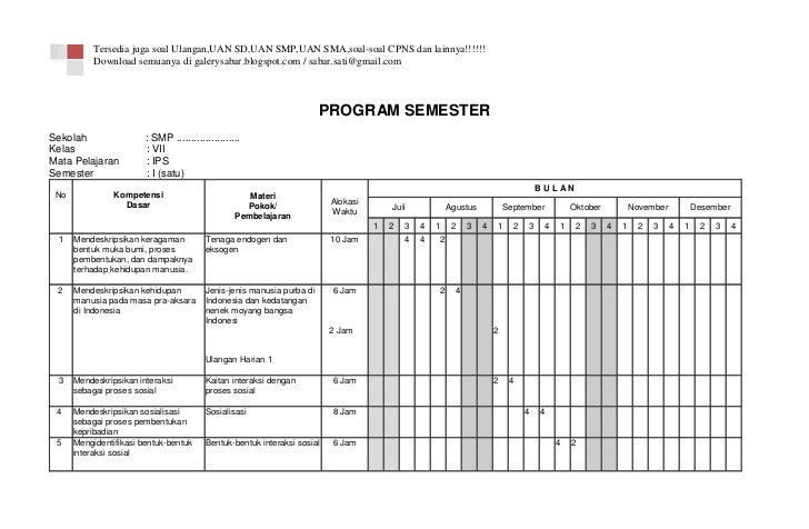 Program Semester Ips Kelas Vii Smp