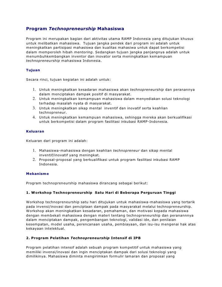 Program Technopreneurship MahasiswaProgram ini merupakan bagian dari aktivitas utama RAMP Indonesia yang ditujukan khususu...