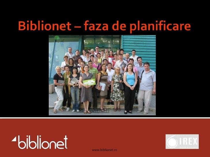 Programul Biblionet: Faza Pilot
