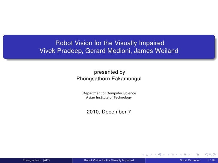 Robot Vision for the Visually Impaired