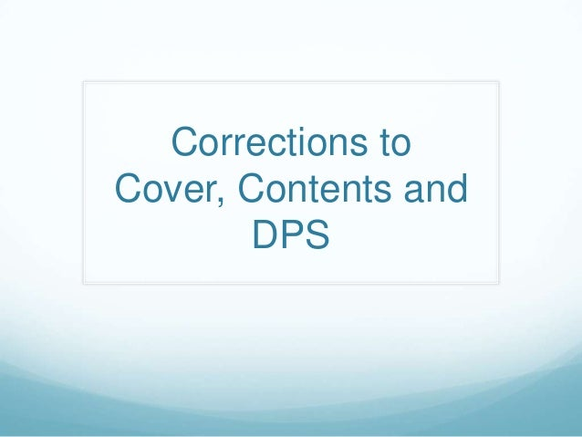 Corrections to Cover, Contents and DPS