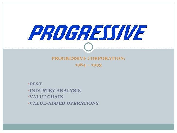 <ul><li>PROGRESSIVE CORPORATION: </li></ul><ul><li>1984 – 1993 </li></ul><ul><li>PEST </li></ul><ul><li>INDUSTRY ANALYSIS ...