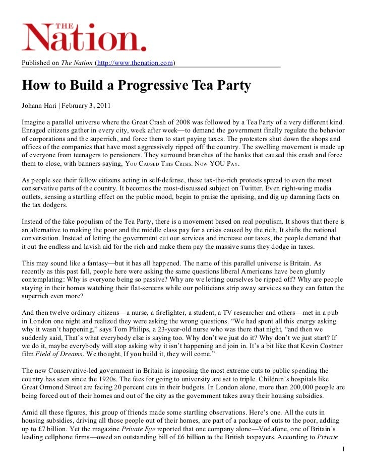Published on The Nation (http://www.thenation.com)How to Build a Progressive Tea PartyJohann Hari | February 3, 2011Imagin...