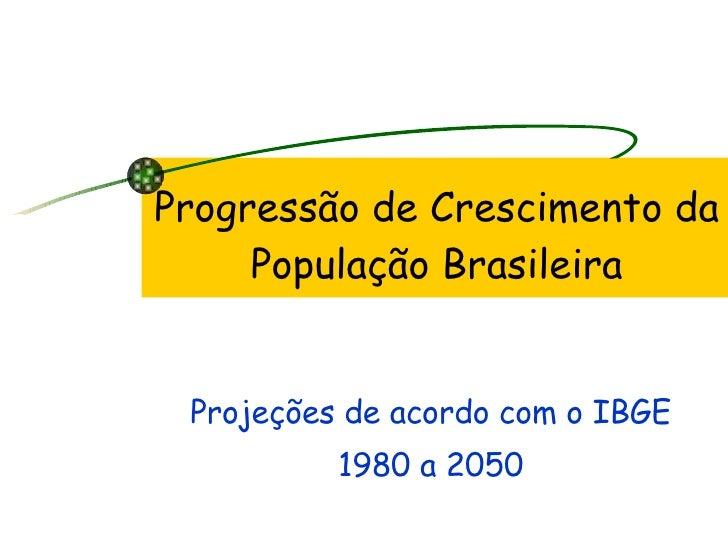 Progressão de Crescimento da População Brasileira Projeções de acordo com o IBGE 1980 a 2050