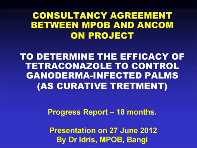 Progress report 18 months - efficacy of tetraconazole to control ganoderma infected palms