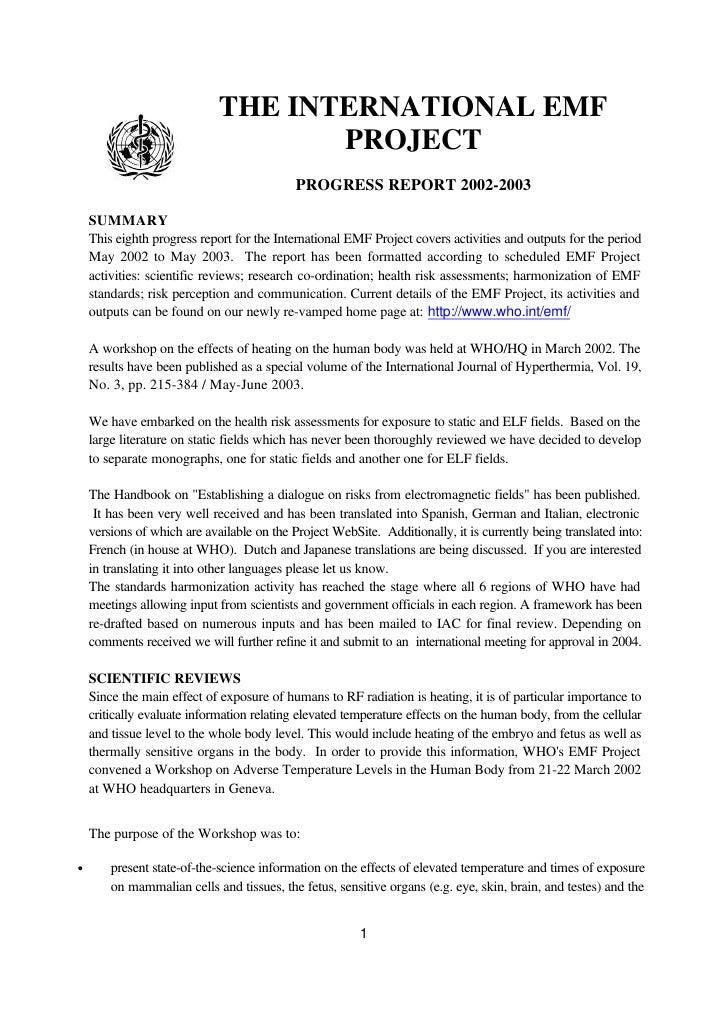THE INTERNATIONAL EMF                                     PROJECT                                             PROGRESS REP...