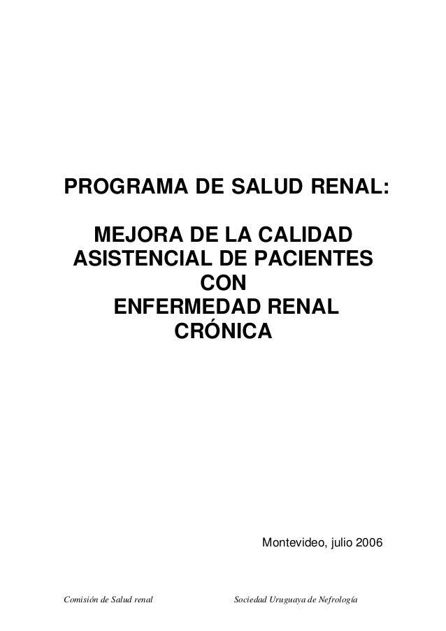 Comisión de Salud renal Sociedad Uruguaya de Nefrología PROGRAMA DE SALUD RENAL: MEJORA DE LA CALIDAD ASISTENCIAL DE PACIE...