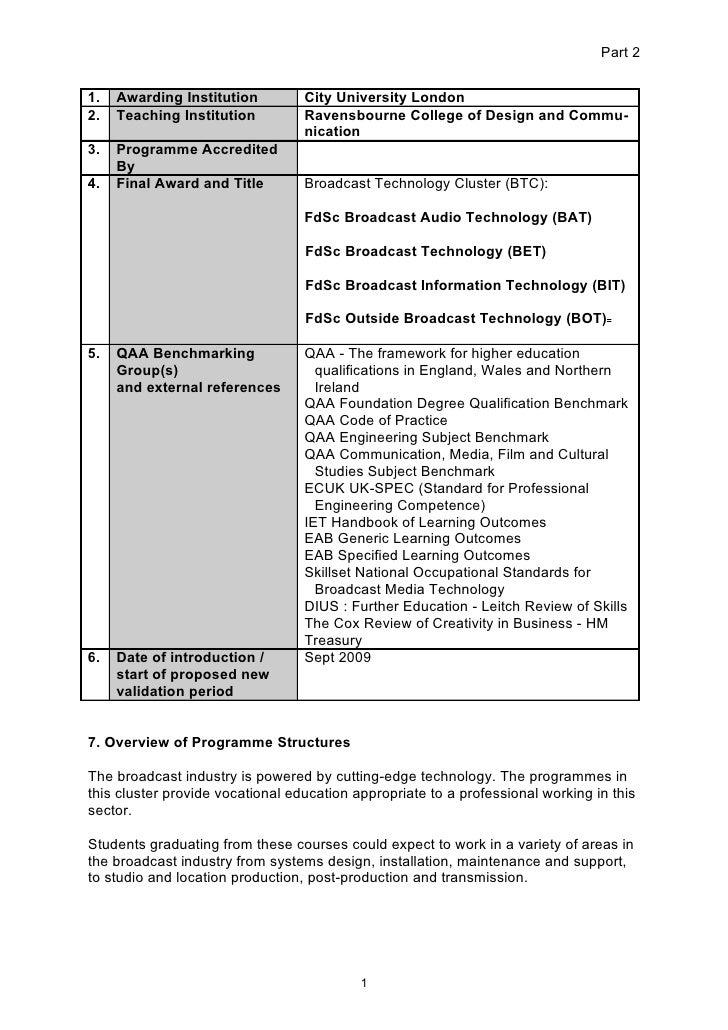 BTC FdSc Programme Specification