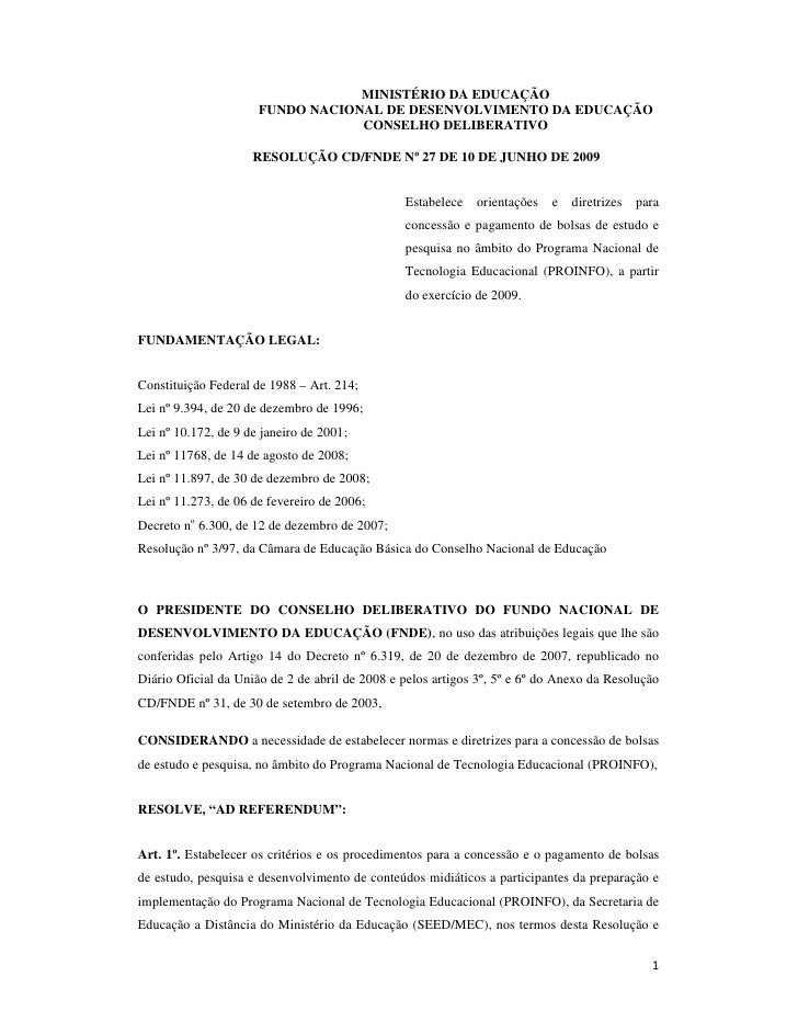 MINISTÉRIO DA EDUCAÇÃO                       FUNDO NACIONAL DE DESENVOLVIMENTO DA EDUCAÇÃO                                ...