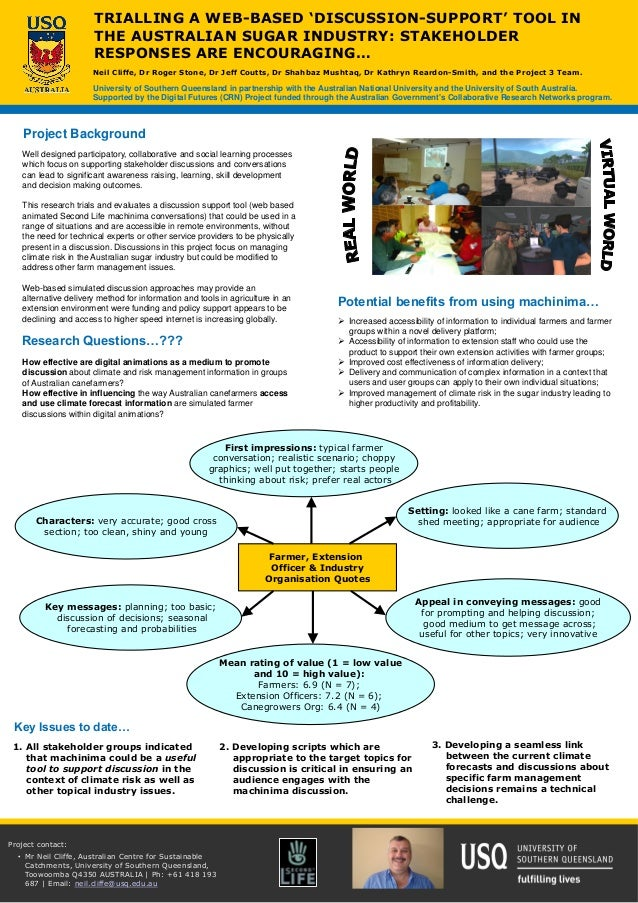 Well designed participatory, collaborative and social learning processes which focus on supporting stakeholder discussions...