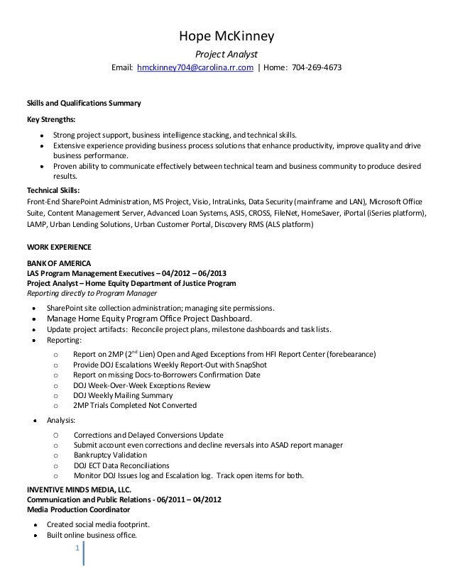 need help writing an essay  - mis analyst resume  10  07