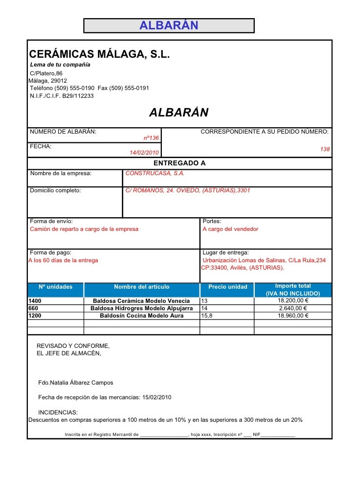 ALBARÁN  CERÁMICAS MÁLAGA, S.L. Lema de tu compañía C/Platero,86 Málaga, 29012 Teléfono (509) 555-0190 Fax (509) 555-0191 ...