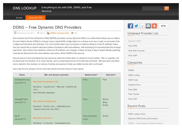 DNS LOOKUP Everything to do with DNS, DDNS, and FreeServicesDDNS – Free Dynamic DNS ProvidersNovember 22, 2011 admin DDNS,...
