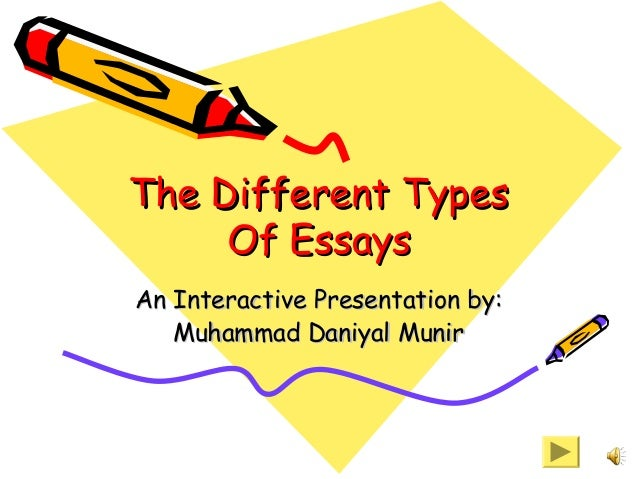 types of essay yahoo A description of a scene or setting that stimulates any of the five senses example: in a hole in the ground there lived a hobbit not a nasty, dirty, wet hole, willed with the ends of worms and an oozy smellit was a hobbit-hole, and that means comfort.
