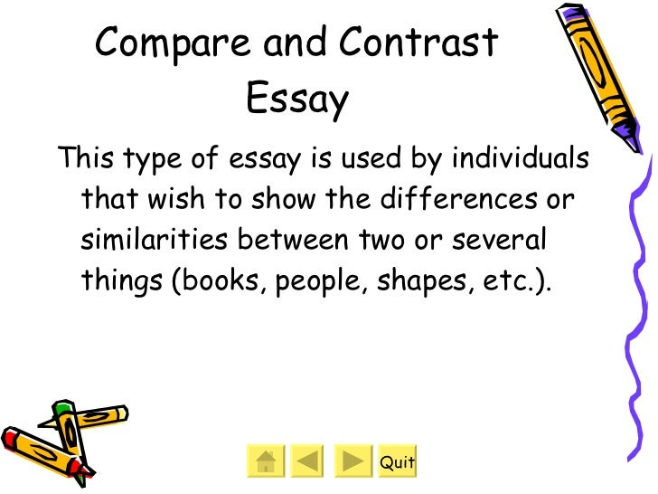 two types of organization used in compare and contrast essays