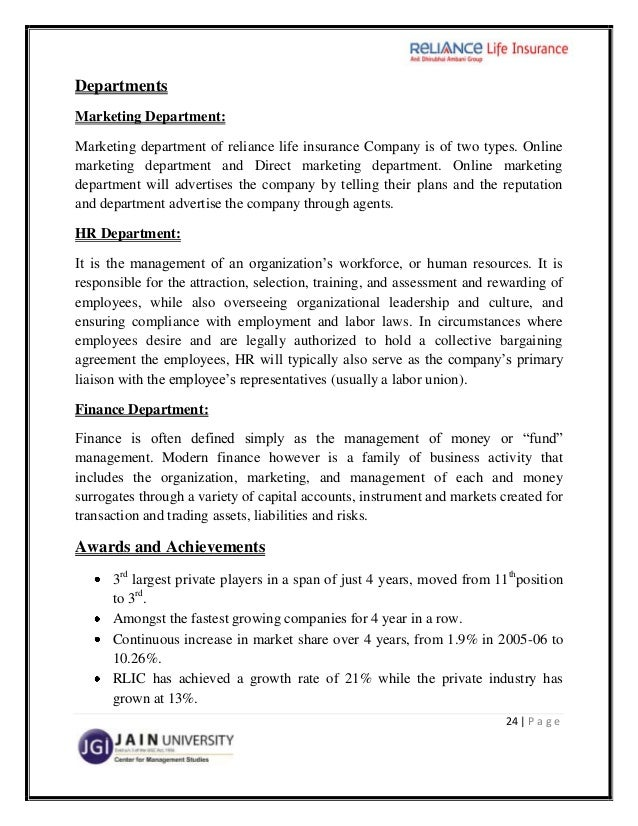 Reliance life insurance project essay