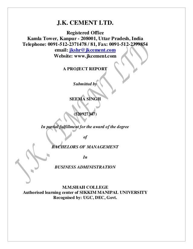 J.K. CEMENT LTD. Registered Office Kamla Tower, Kanpur - 208001, Uttar Pradesh, India Telephone: 0091-512-2371478 / 81, Fa...